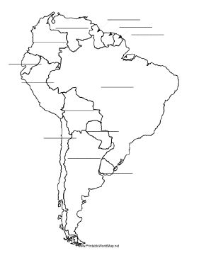 This printable map of South America has blank lines on which students can fill in the names of each country. It is oriented vertically. Free to download and print