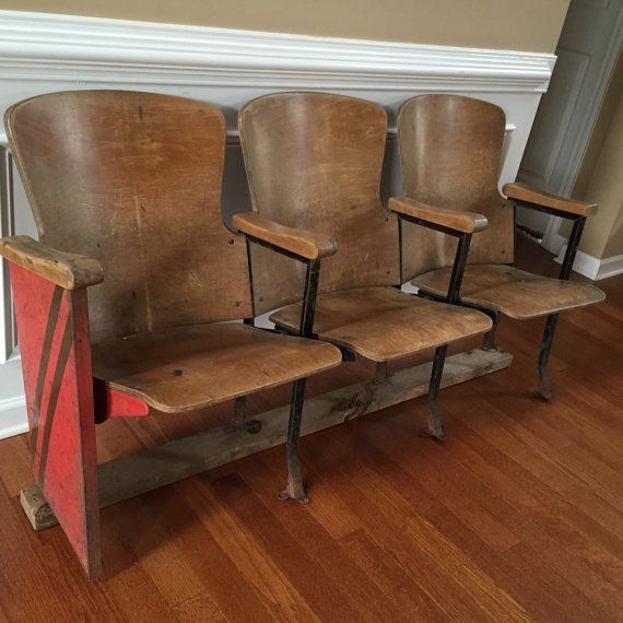 Folding Foyer Bench : Vintage folding cinema movie theater seats home