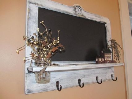 Large Shabby Antiqued White Chalkboard With Hooks Rustic