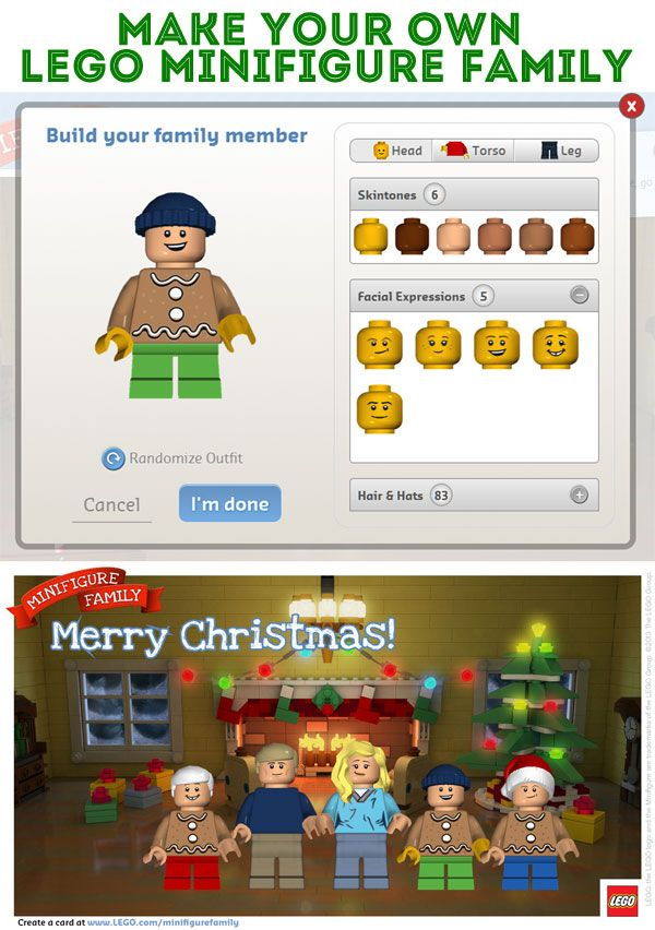 Make a LEGO Minifigure Family Postcard! Merry Christmas!
