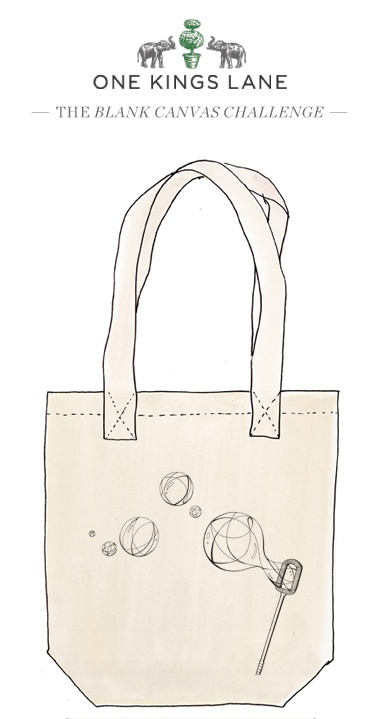 Jessica Saldo created this tote design as part of our Blank Canvas challege. Cast your vote for her design by re-pinning and visit www.onekingslane.com/designchallenge for contest rules and more!