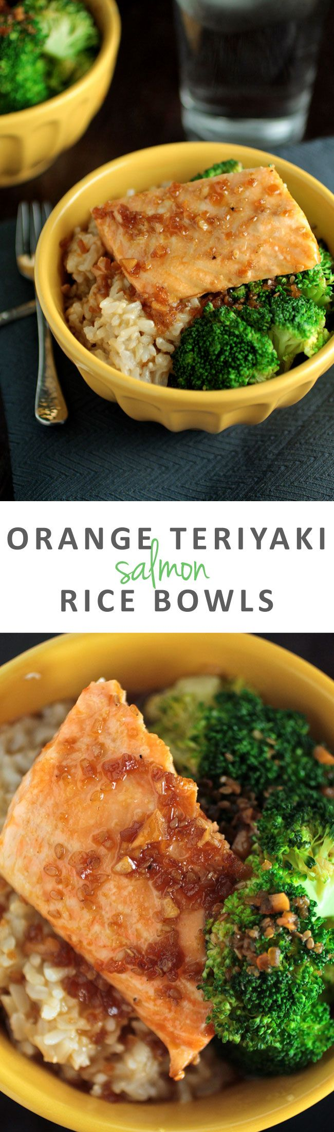 Orange Teriyaki Salmon Rice Bowls   This easy, healthy recipe will help you have dinner on the table in no time! Delicious salmon and fresh vegetables come together for a simple, quick weeknight meal.