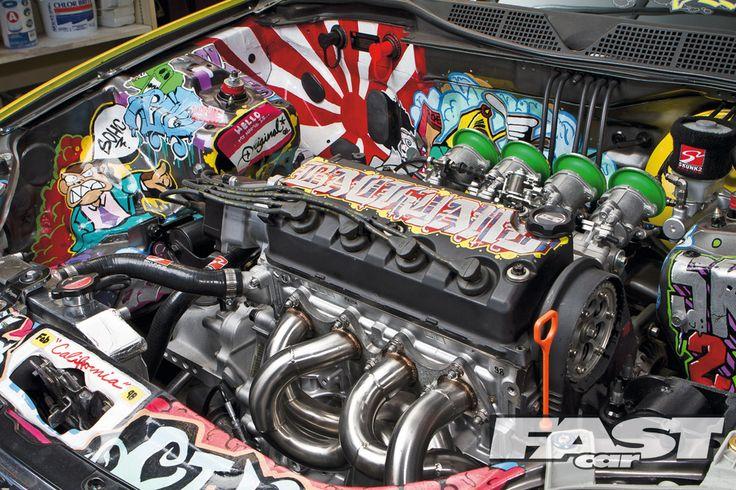 EK Civic. This is a killer way to spruce up the engine bay. Stylin'  #Honda #HondaCivic #HondaCars