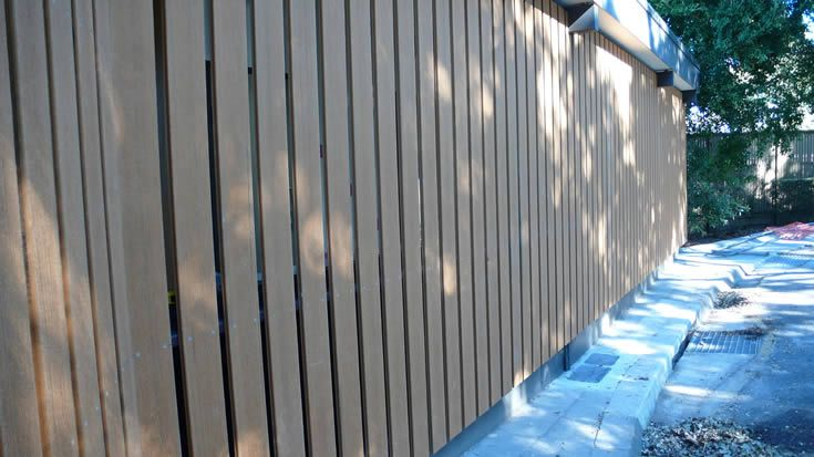 Sahara; waterfront screen for public amenities #ModWood #WideDecking #Screen #Fence #Boardwalk