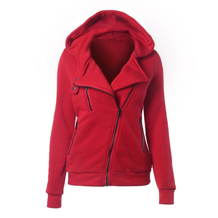 2017春ジャケット女性パーカー斜めジッパーソリッドデザインスタイルレジャーフード付きパーカースポーツウェア生き抜くコートスウェット
