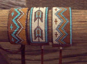 Storyteller Leather Slides By Kathleen Brannon of Desert Sage Bead Art