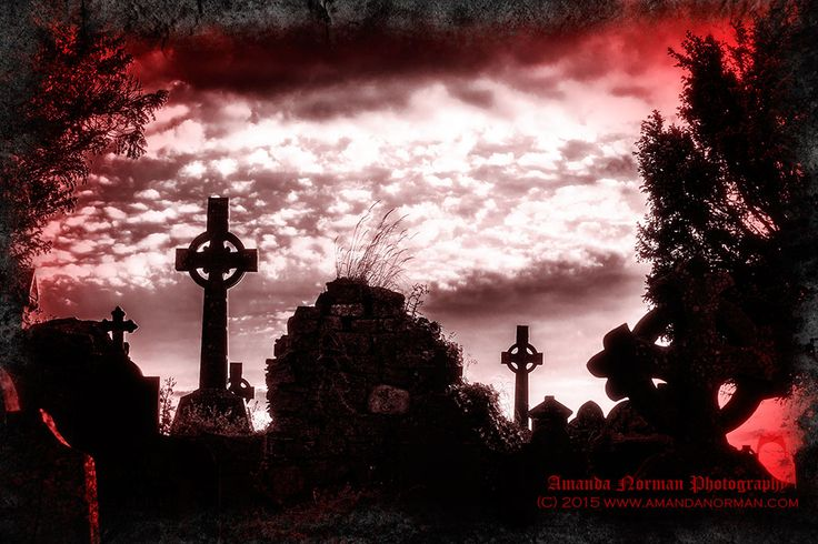 Image of an Irish graveyard at sunset by AMANDA NORMAN.  This is one of the great examples of how editing, particularly on a picture of a graveyard, can alter the atmosphere from being what could have been serene and peaceful to sinister and evil.