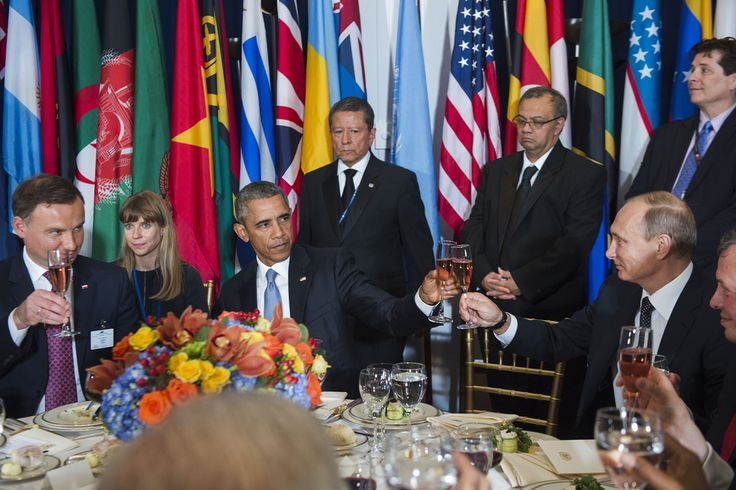 United States President Barack Obama (third from left) and Vladimir V. Putin (second from right), President of the Russian Federation, share a toast at a luncheon hosted by Secretary-General Ban Ki-moon in honour of world leaders attending the general debate of the General Assembly. Also pictured: Andrzej Duda (left), President of the Republic of Poland.  UN Photo/Amanda Voisard 28 September 2015 United Nations, New York Photo # 645617