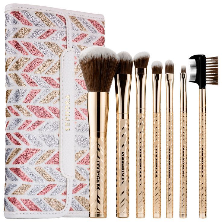 Shop SEPHORA COLLECTION's Sparkle & Shine Antibacterial Brush Set at Sephora. This seven-piece brush set with antibacterial fibers comes in a glitter printed pouch.