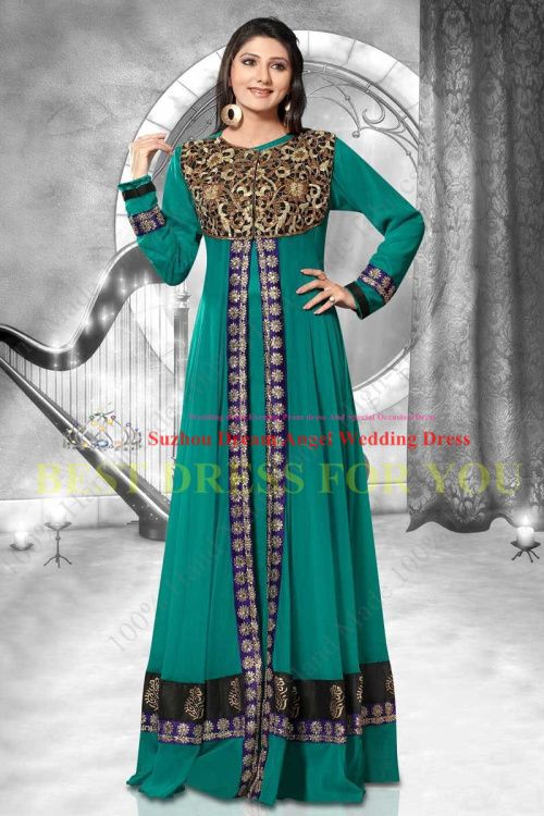 2014 Сделано в Китае люкс на заказ Вышивка Абая Кафтан Арабский платье A-Line долго рукава шифон Пром Вечернее платье 7629,00