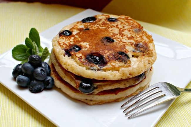 Yield: Five 4-inch pancakes  Ingredients:       One 5.3-ounce container nonfat Greek Yogurt (any flavor- see *Tips)   1 large egg (or 2 large egg whites)   1/2 cup All-Purpose Flour   1 teaspoon baking soda   1/2 cup fresh blueberries (or