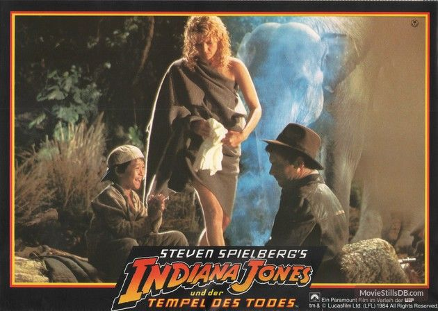 Indiana Jones and the Temple of Doom - Lobby card with Harrison Ford, Jonathan Ke Quan & Kate Capshaw