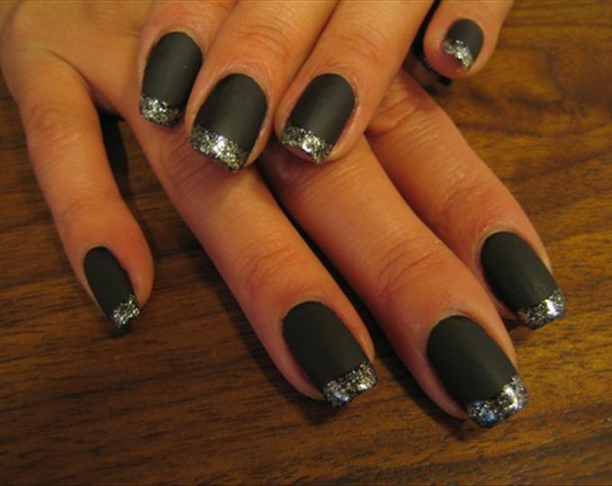 black acrylic nail tips | tips nail art photo tags glitter black silver tips flat