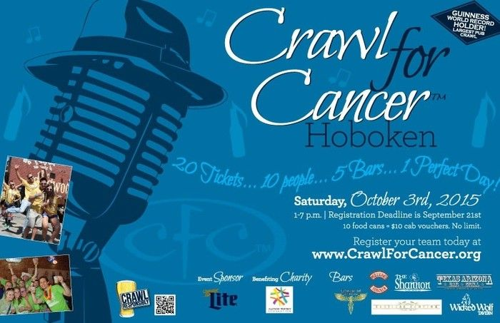 Crawl for Cancer Bar Crawl! Join us on Saturday, October 3rd, for an amazing bar crawl to raise money for a wonderful cause! October 3, 2015