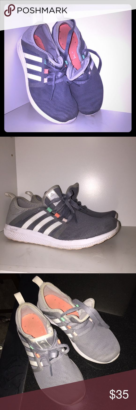 Adidas bounce women's 8 grey and white Worn so they show a bit of dirt, but overall great condition still :) super cute and comfortable with iridescent and reflective material on the sides for better visibility! Climacool technology adidas Shoes Athletic Shoes