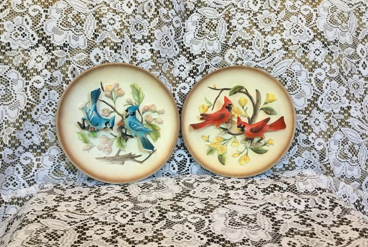 Napcoware C-5853, Vintage 3-D Plates, Napcoware Cardinal Plate, Napcoware  Blue Jay Plate, Vintage Nature Plates by PattisPickins on Etsy