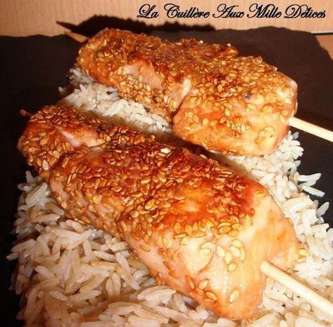 Brochettes de saumon, miel & sésame - Recette Ptitchef