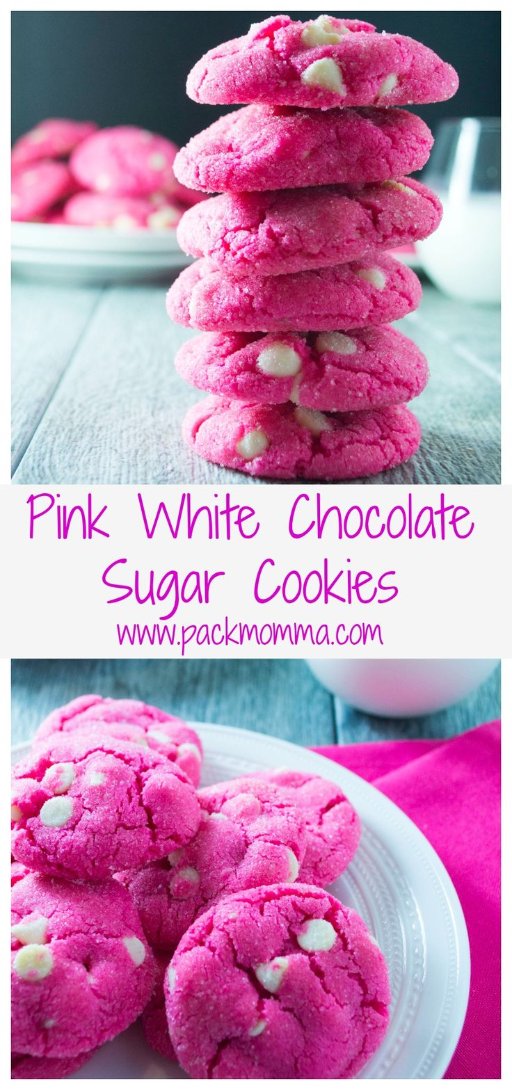 These Pink White Chocolate Sugar Cookies are crisp on the outside and soft and sweet on the inside.. the perfect Valentine's Day treat!!