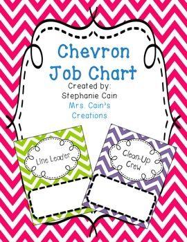 Chevron Classroom Job Chart