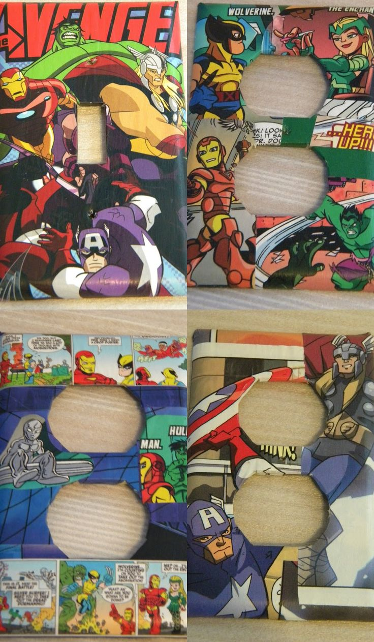 Arts and crafts switch plate covers - Raising Superheros Modge Podge Outlet And Light Switch Covers