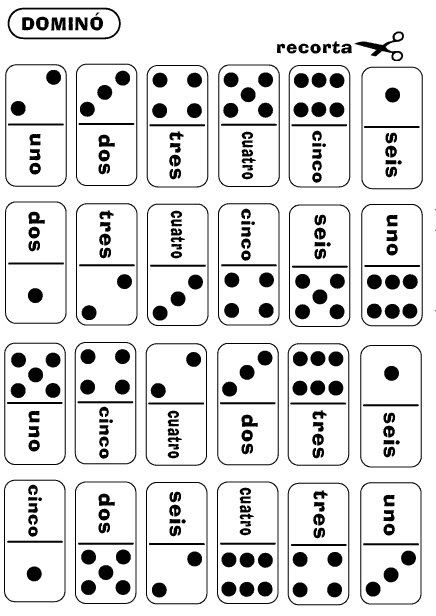 Practice numbers in Spanish by playing this free printable domino game. Go here to print yours. You can also print a free numbers 1-10 wo...