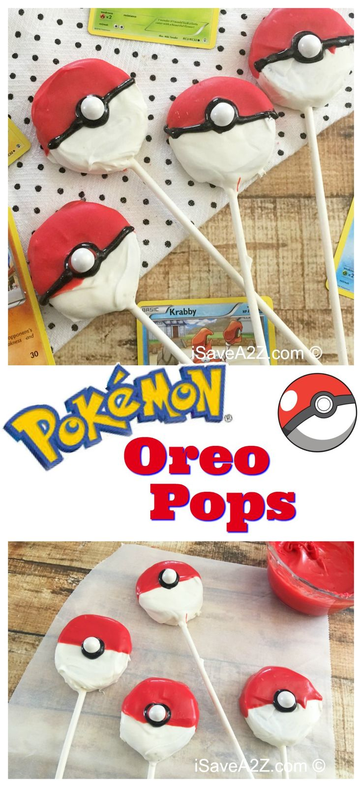 Easy Pokeball Oreo Pops - Perfect for a Pokemon Party!!  iSaveA2Z.com