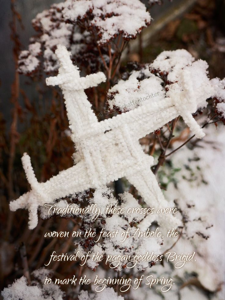 Traditionally, these crosses were woven on the feast of Imbolc, the festival of the pagan goddess Brigid, to mark the beginning of Spring.