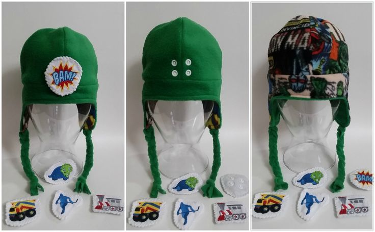 Children's reversible winter fleece hat with collectible and interchangeable badges, green superheroes, boy, christmas gift by polkadotpugzz on Etsy