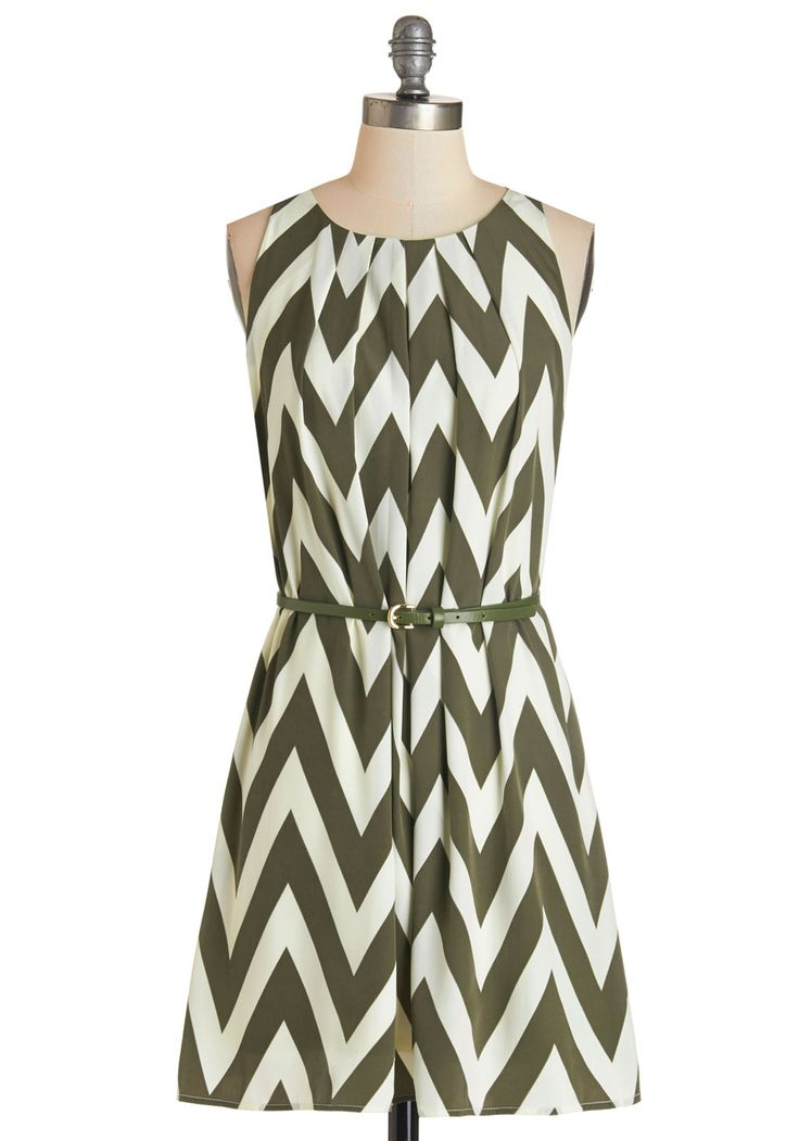 Great Wavelengths Dress in Olive. Dont touch that dial!  #modcloth