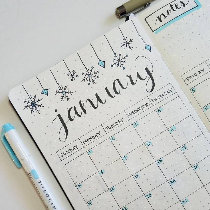 "Connie X on Instagram: ""Closer look at my January Setup for 2018. . . . . . #bulletjournal #bulletjournaling #bujonewbie #bujo #bulletjournaladdict #planningahead…"""