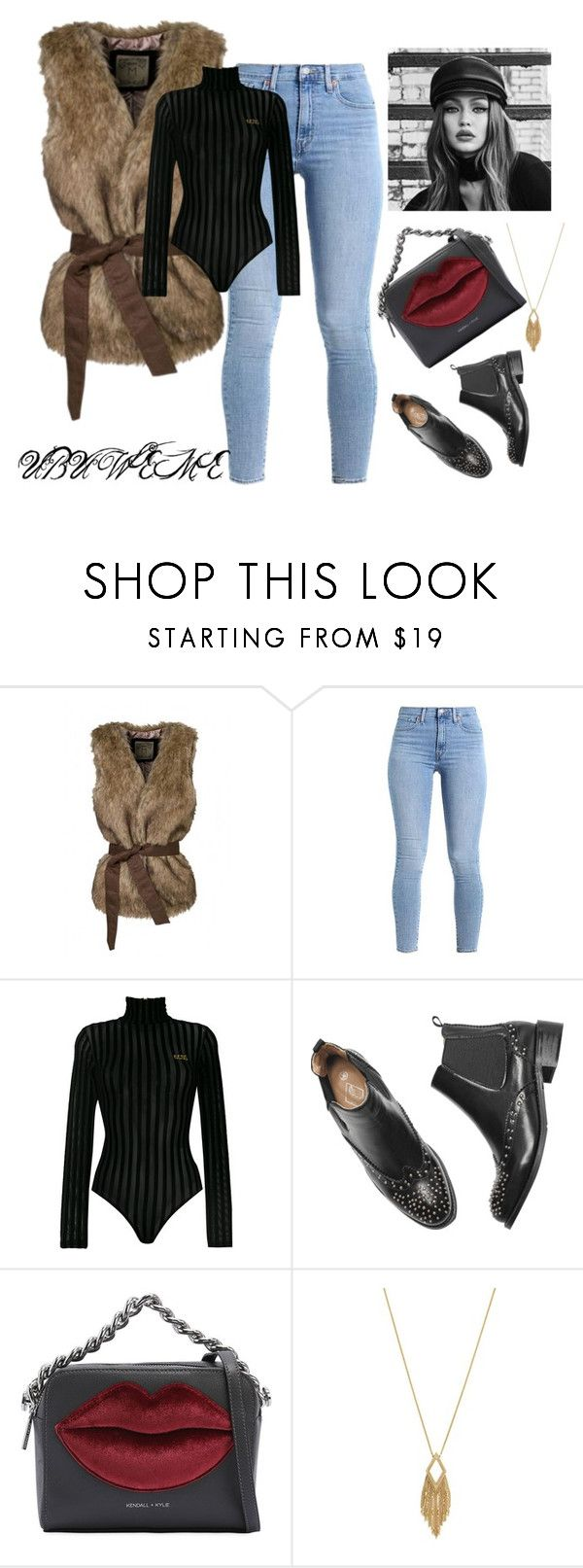 """""""FAUX FUR VEST & MESH BODYSUIT"""" by mchangwe on Polyvore featuring WithChic, GCDS, Kendall + Kylie, Jessica Simpson and Maybelline"""