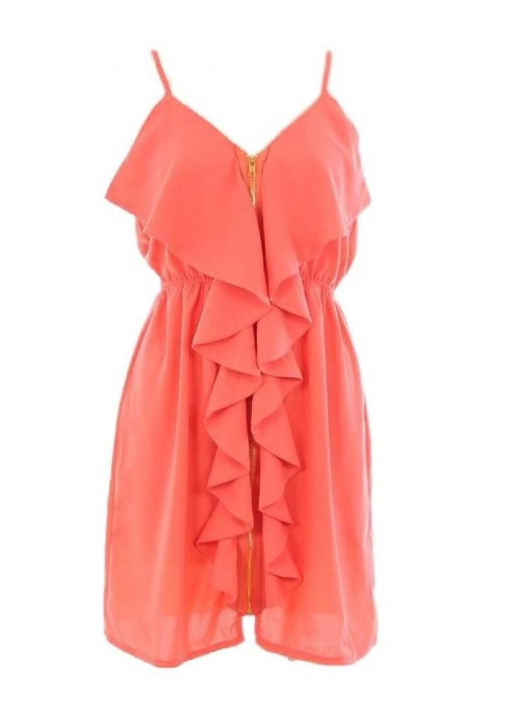 Perfect for summer: Coral Dress, Summer Dresses, Style, Color, Clothing, Bridesmaid Dresses, Zippers Front, Front Zippers Dresses, Leather Jackets