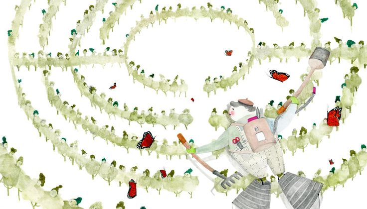 "Agnes Keszeg illustration for ""It's the Rustling Leaves"", by Máté Angi."