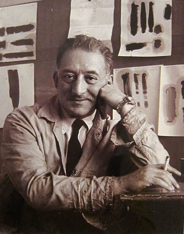 Image result for Adolph Gottlieb in his studio, ca.1942. Photo by Aaron Siskind.