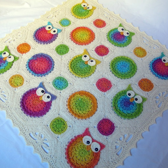 CROCHET PATTERN - Owl Obsession - a CoLorFuL owl blanket. $6.00, via Etsy.