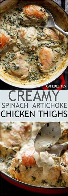 Creamy Spinach Artichoke Chicken Thighs in one skillet! Low fat AND low carb, filled with fresh spinach, artichokes, parmesan cheese and a hint of garlic!   http://cafedelites.com