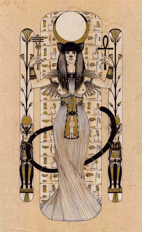 Bastet - Egyptian goddess of cat by Carella-Art