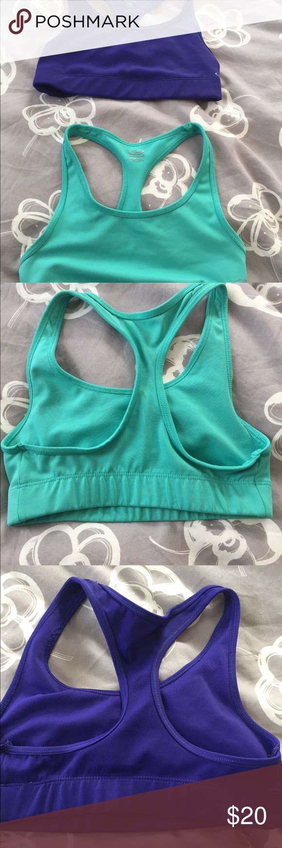 2 champion sports bras. Purple & aqua champion sports bras. Size medium.  Great condition. Intimates & Sleepwear Bras