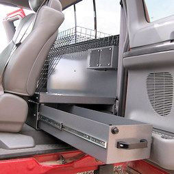 """Your truck IS your office... Answer your Truck Cab Organization needs      Organized paperwork, files, and technical data   Safe, secure laptop storage. Clean, neat site plans   49"""" Long Drawer inmost models   Easy to find pens, pencils,"""