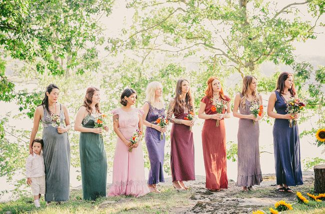 Mis-matched colourful long bridesmaid dresses | Jewel Tone Wedding { 17 ideas to Use Jewel Tones } https://www.itakeyou.co.uk/wedding/jewel-tone-wedding-theme #jeweltone #wedding #fallwedding: