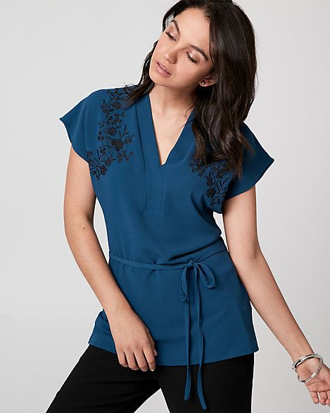 Embroidered Crêpe de Chine V-Neck Blouse - A crêpe de Chine blouse with a flattering waist tie is made even more chic with a floral-embroidered neckline detail.