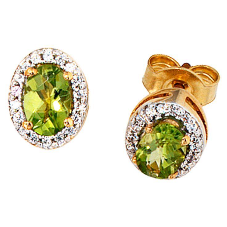 Ohrstecker 585 Gelbgold 1 Diamant Brillant 2 Peridote grün Ohrringe http://cgi.ebay.de/ws/eBayISAPI.dll?ViewItem&item=151881439951&ssPageName=STRK:MESE:IT