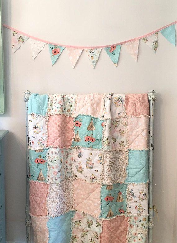 Crib Rag Quilt Baby Girl Crib Bedding Boho Nursery Gold Pink