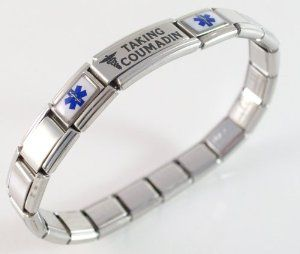 Taking Coumadin Blood Thinners Medical ID Alert Italian Charm Bracelet  http://electmejewellery.com/jewelry/bracelets/identification/taking-coumadin-blood-thinners-medical-id-alert-italian-charm-bracelet-com/
