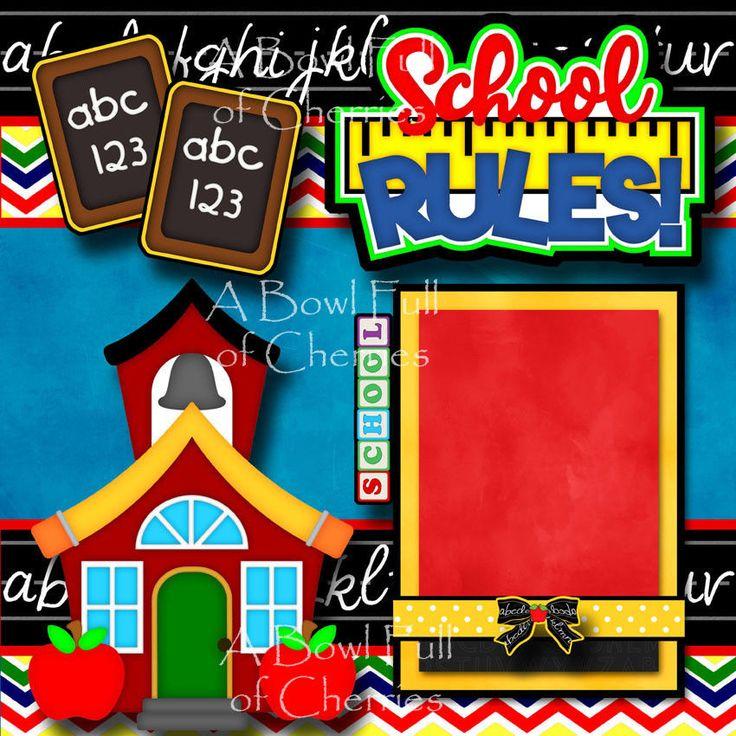 SCHOOL RULES 2 premade scrapbook pages paper piecing for album layout 3D CHERRY #BowlFullofCherriesScrapbooking