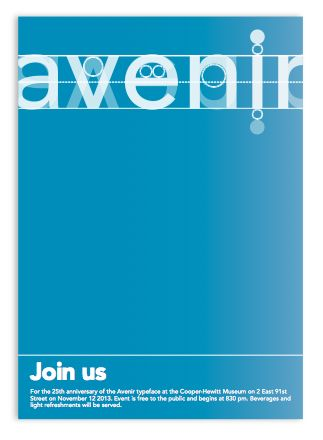 avenir type poster using lots of neg space, title has lots of diff layers to it but still readable