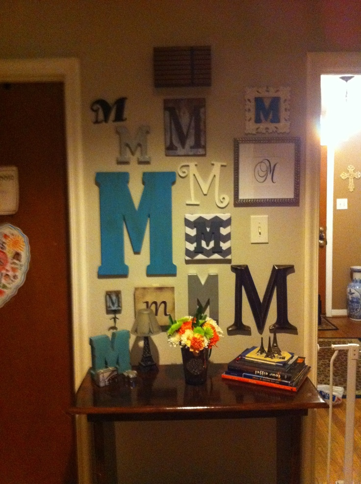 Here S An Example Of A Wall Without A Center Focal Point Still Balanced And Fun Letter Wall Decorinitial