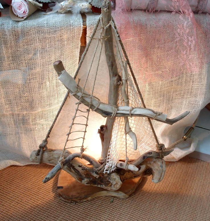 τηλ  6976773699..επιτραπέζιο φωτιστικό καράβι από θαλασσόξυλα..διαστ 55Χ42cm