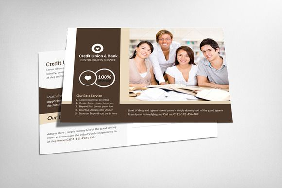 Credit Union & Bank Postcard by Business Templates on Creative Market