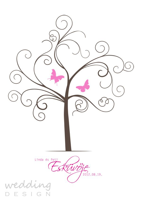 Wedding guest book - Wedding tree - Ujjlenyomatos emlék plakát Graphic/Grafika: Wedding Design
